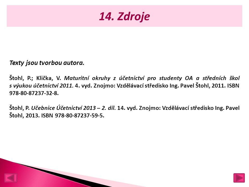 14. Zdroje Texty jsou tvorbou autora. Štohl, P.; Klička, V.