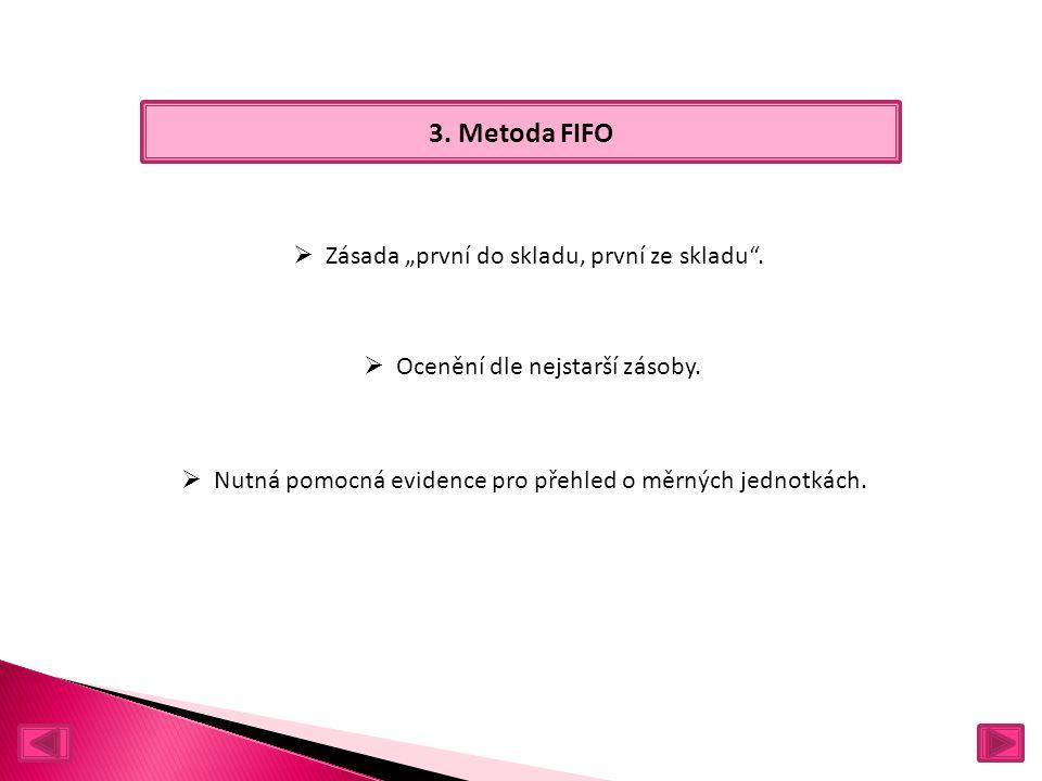 """3. Metoda FIFO  Zásada """"první do skladu, první ze skladu ."""
