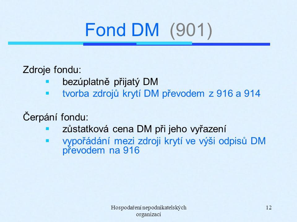 Hospodaření nepodnikatelských organizací 12 Fond DM (901) Zdroje fondu:  bezúplatně přijatý DM  tvorba zdrojů krytí DM převodem z 916 a 914 Čerpání fondu:  zůstatková cena DM při jeho vyřazení  vypořádání mezi zdroji krytí ve výši odpisů DM převodem na 916