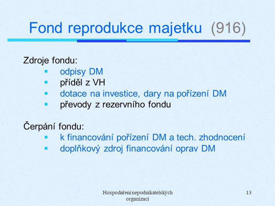 Hospodaření nepodnikatelských organizací 13 Fond reprodukce majetku (916) Zdroje fondu:  odpisy DM  příděl z VH  dotace na investice, dary na pořízení DM  převody z rezervního fondu Čerpání fondu:  k financování pořízení DM a tech.