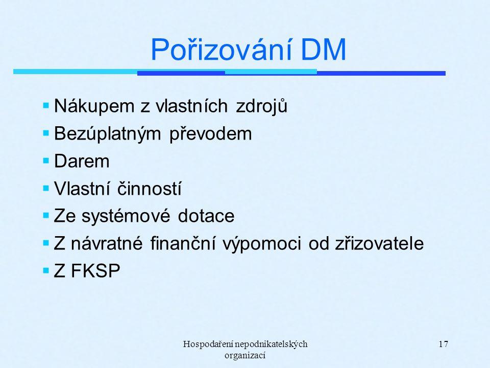 Hospodaření nepodnikatelských organizací 17 Pořizování DM  Nákupem z vlastních zdrojů  Bezúplatným převodem  Darem  Vlastní činností  Ze systémové dotace  Z návratné finanční výpomoci od zřizovatele  Z FKSP
