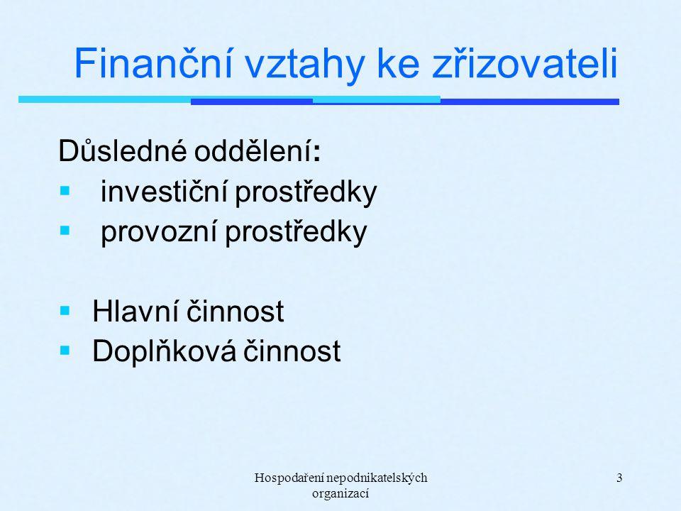 Hospodaření nepodnikatelských organizací 3 Finanční vztahy ke zřizovateli Důsledné oddělení:  investiční prostředky  provozní prostředky  Hlavní činnost  Doplňková činnost