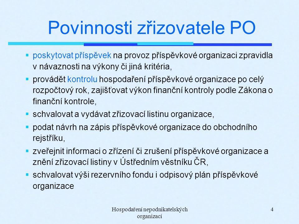 Hospodaření nepodnikatelských organizací 4 Povinnosti zřizovatele PO  poskytovat příspěvek na provoz příspěvkové organizaci zpravidla v návaznosti na