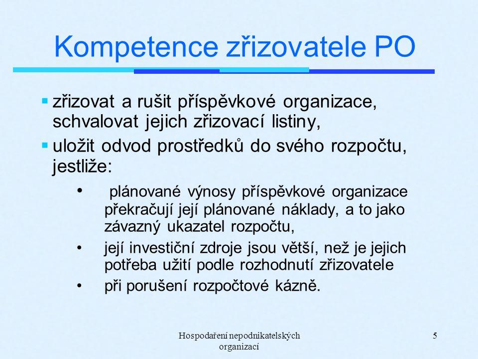 Hospodaření nepodnikatelských organizací 5 Kompetence zřizovatele PO  zřizovat a rušit příspěvkové organizace, schvalovat jejich zřizovací listiny, 
