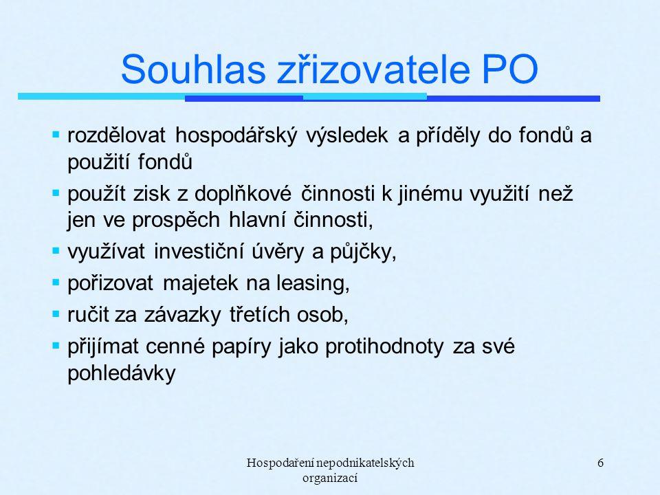 Hospodaření nepodnikatelských organizací 6 Souhlas zřizovatele PO  rozdělovat hospodářský výsledek a příděly do fondů a použití fondů  použít zisk z doplňkové činnosti k jinému využití než jen ve prospěch hlavní činnosti,  využívat investiční úvěry a půjčky,  pořizovat majetek na leasing,  ručit za závazky třetích osob,  přijímat cenné papíry jako protihodnoty za své pohledávky