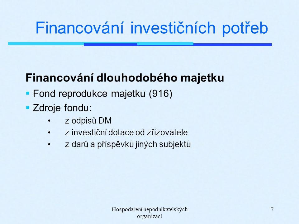 Hospodaření nepodnikatelských organizací 7 Financování investičních potřeb Financování dlouhodobého majetku  Fond reprodukce majetku (916)  Zdroje f