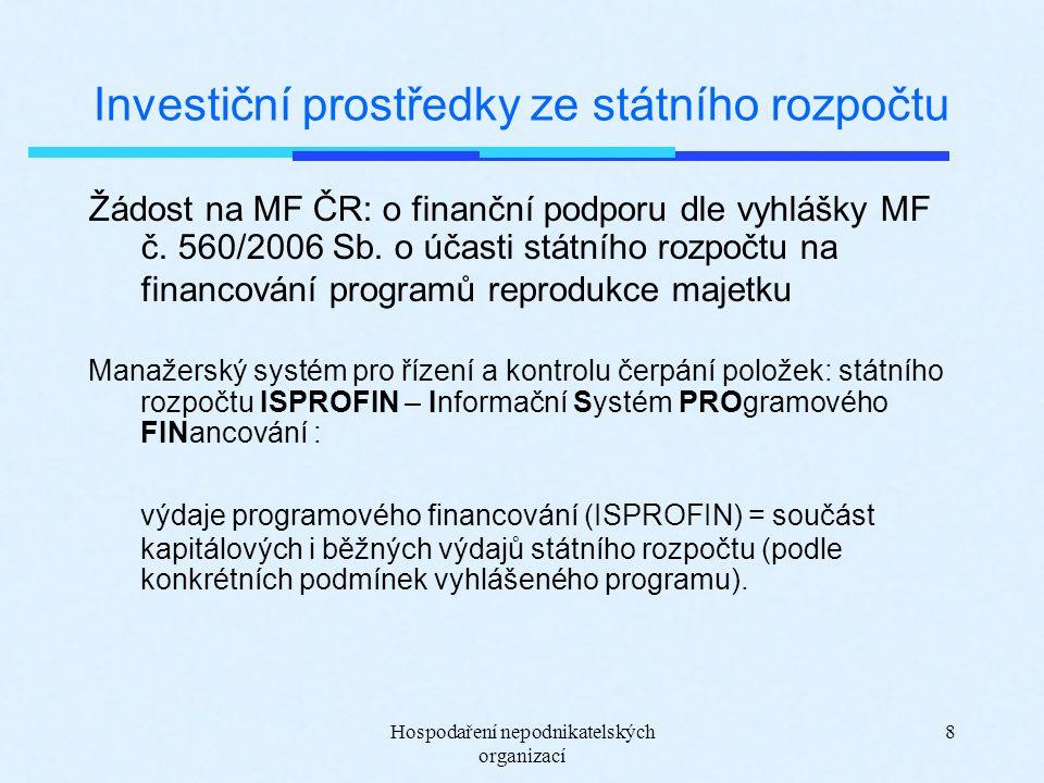 Hospodaření nepodnikatelských organizací 8 Investiční prostředky ze státního rozpočtu Žádost na MF ČR: o finanční podporu dle vyhlášky MF č. 560/2006