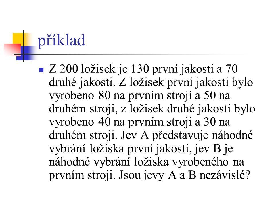 příklad Z 200 ložisek je 130 první jakosti a 70 druhé jakosti.