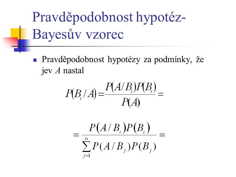 Pravděpodobnost hypotéz- Bayesův vzorec Pravděpodobnost hypotézy za podmínky, že jev A nastal