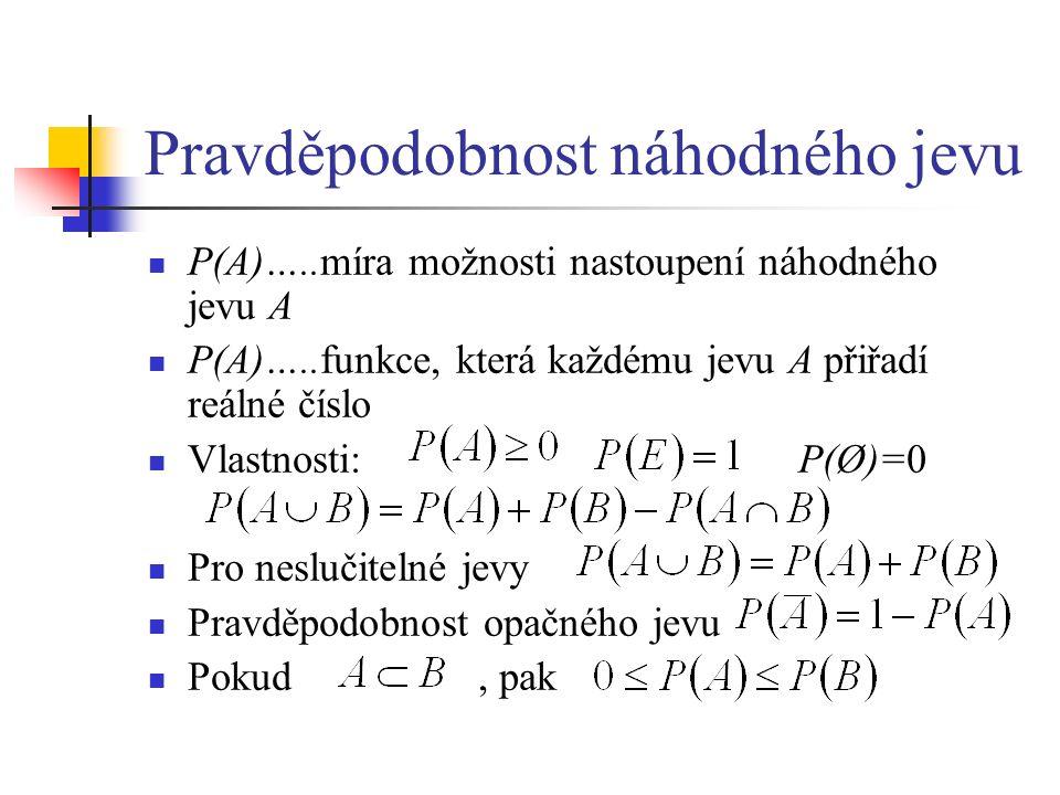 Pravděpodobnost náhodného jevu P(A)…..míra možnosti nastoupení náhodného jevu A P(A)…..funkce, která každému jevu A přiřadí reálné číslo Vlastnosti: P(Ø)=0 Pro neslučitelné jevy Pravděpodobnost opačného jevu Pokud, pak
