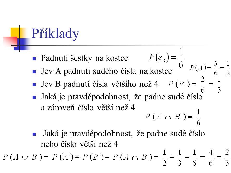 Podmíněná pravděpodobnost Pravděpodobnost jevu A za podmínky, že nastal jev B