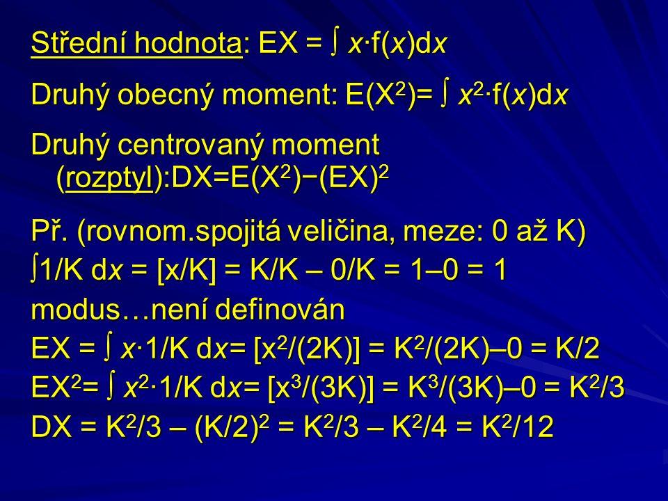 Střední hodnota: EX =  x·f(x)dx Druhý obecný moment: E(X 2 )=  x 2 ·f(x)dx Druhý centrovaný moment (rozptyl):DX=E(X 2 )−(EX) 2 Př.