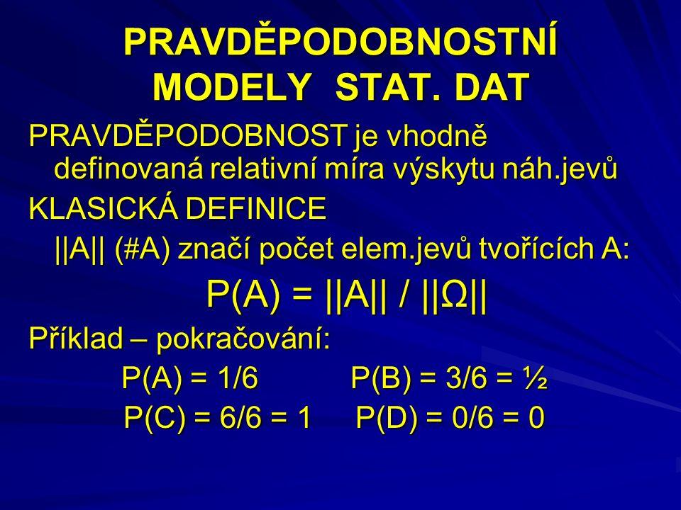 Poissonovo rozdělení X~Po( λ ) A…sledovaný jev X=počet výskytů A při nekonečně mnoha pokusech X=0,1, 2,… P(x) =λ x  e  λ /x.