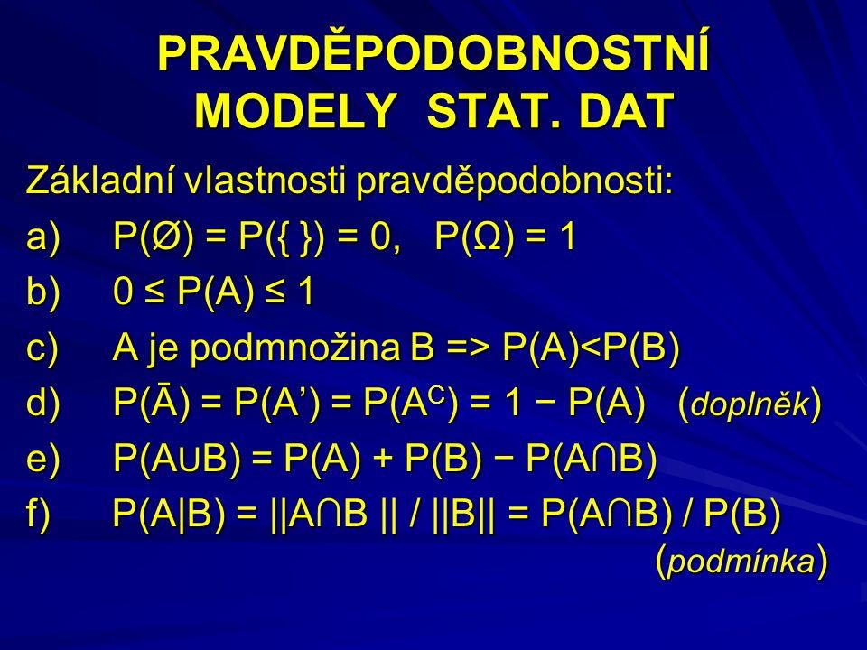 NEZÁVISLOST JEVŮ Jevy A a B jsou nezávislé, pokud platí P(B|A) = P(B|Ā) = P(B) Nutná a postačující podmínka nezávislosti P(A∩B) = P(A) · P(B)  A,B nezávislé