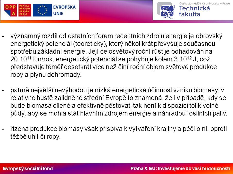 Evropský sociální fond Praha & EU: Investujeme do vaší budoucnosti -významný rozdíl od ostatních forem recentních zdrojů energie je obrovský energetic