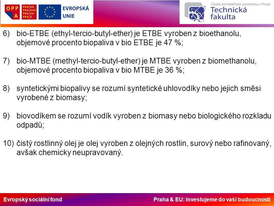 Evropský sociální fond Praha & EU: Investujeme do vaší budoucnosti 6)bio-ETBE (ethyl-tercio-butyl-ether) je ETBE vyroben z bioethanolu, objemové proce