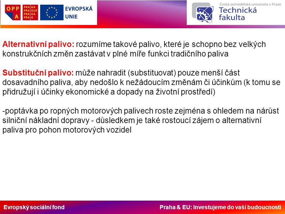 Evropský sociální fond Praha & EU: Investujeme do vaší budoucnosti -v automobilovém průmyslu se může využít několik druhů alternativních pohonných hmot, z nichž nejdůležitější jsou představovány palivy plynnými (např.