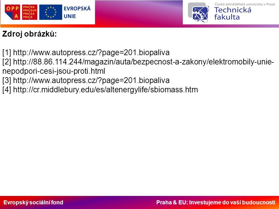 Evropský sociální fond Praha & EU: Investujeme do vaší budoucnosti Zdroj obrázků: [1] http://www.autopress.cz/?page=201.biopaliva [2] http://88.86.114
