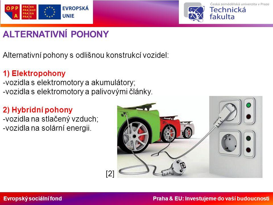 Evropský sociální fond Praha & EU: Investujeme do vaší budoucnosti ALTERNATIVNÍ POHONY Alternativní pohony s odlišnou konstrukcí vozidel: 1) Elektropo
