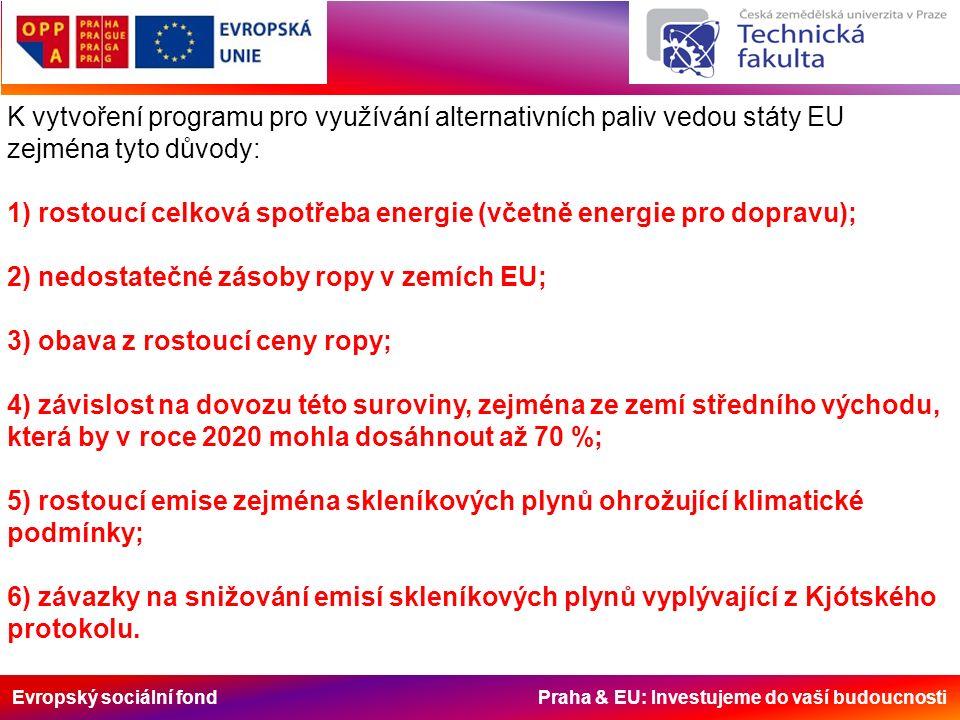 Evropský sociální fond Praha & EU: Investujeme do vaší budoucnosti K vytvoření programu pro využívání alternativních paliv vedou státy EU zejména tyto