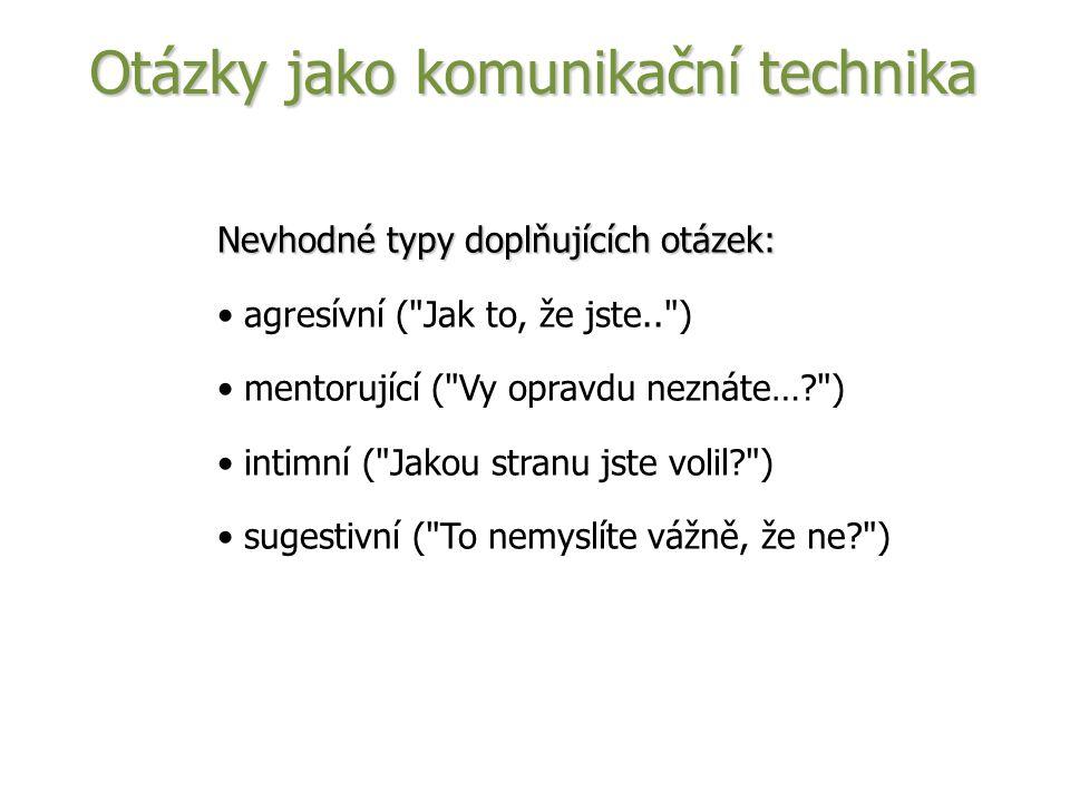 Nevhodné typy doplňujících otázek: agresívní ( Jak to, že jste.. ) mentorující ( Vy opravdu neznáte… ) intimní ( Jakou stranu jste volil ) sugestivní ( To nemyslíte vážně, že ne ) Otázky jako komunikační technika