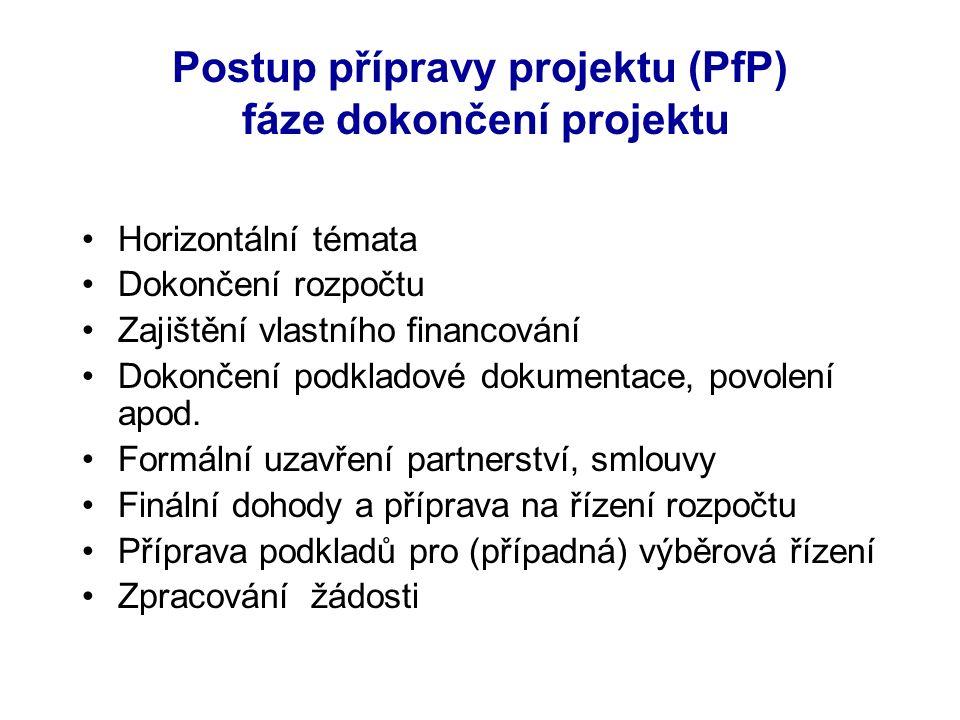 Postup přípravy projektu (PfP) fáze dokončení projektu Horizontální témata Dokončení rozpočtu Zajištění vlastního financování Dokončení podkladové dokumentace, povolení apod.