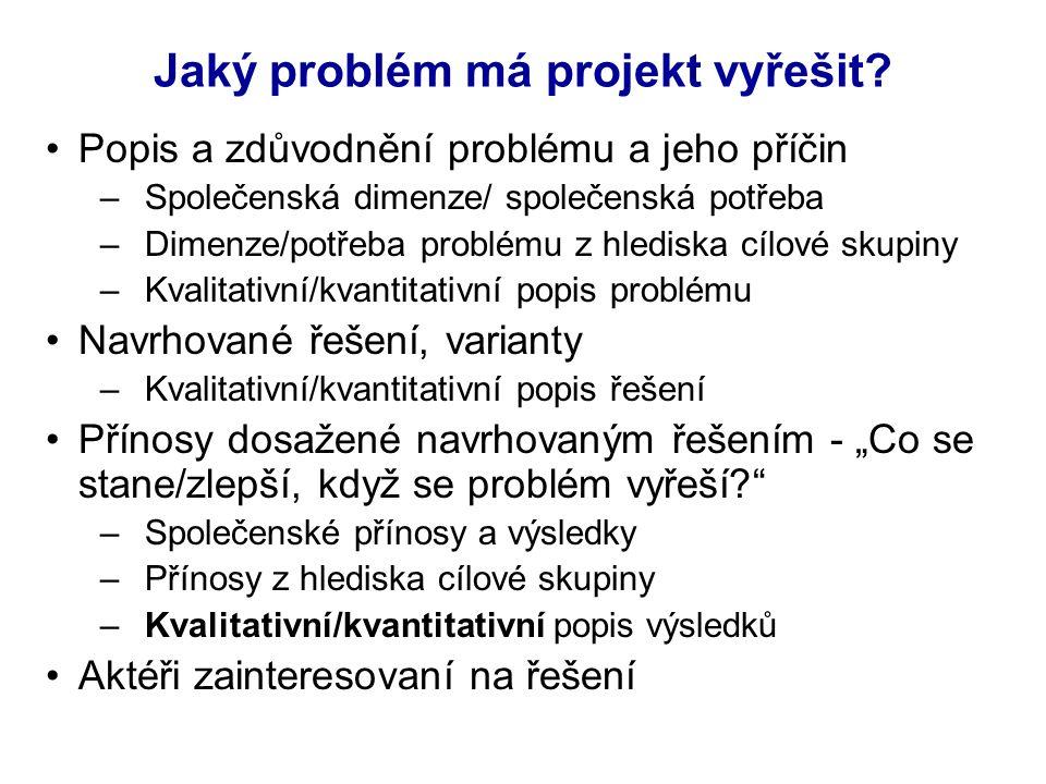 Jaký problém má projekt vyřešit.