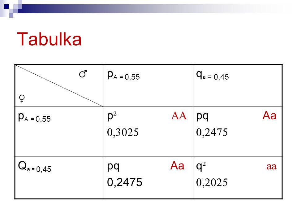 Tabulka ♂ p A = 0,55 q a = 0,45 p A = 0,55 p ² AA 0,3025 pq Aa 0,2475 Q a = 0,45 pq Aa 0,2475 q ² aa 0,2025 ♀