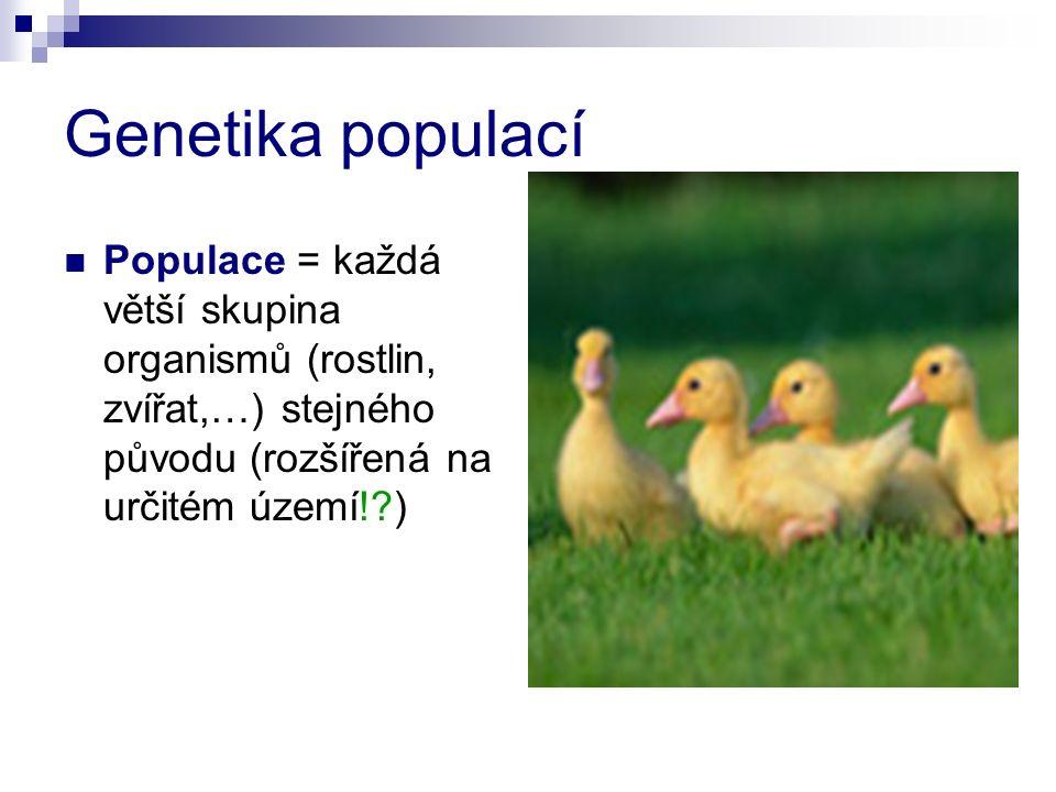 Genetika populací Populace = každá větší skupina organismů (rostlin, zvířat,…) stejného původu (rozšířená na určitém území! )