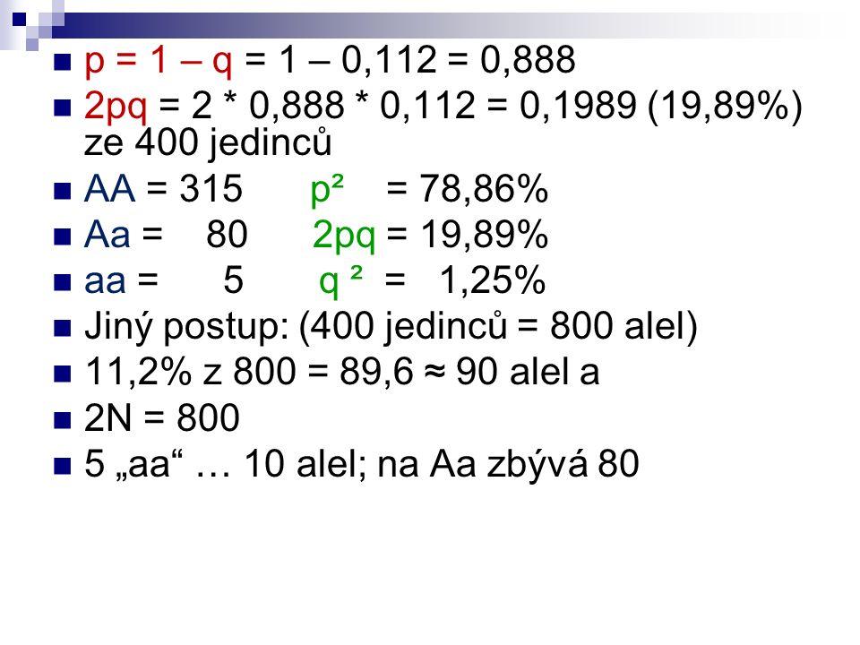"p = 1 – q = 1 – 0,112 = 0,888 2pq = 2 * 0,888 * 0,112 = 0,1989 (19,89%) ze 400 jedinců AA = 315p² = 78,86% Aa = 80 2pq = 19,89% aa = 5 q ² = 1,25% Jiný postup: (400 jedinců = 800 alel) 11,2% z 800 = 89,6 ≈ 90 alel a 2N = 800 5 ""aa … 10 alel; na Aa zbývá 80"