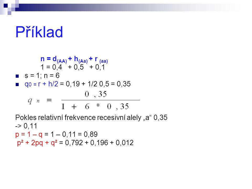 "Příklad n = d (AA) + h (Aa) + r (aa) 1 = 0,4 + 0,5 + 0,1 s = 1; n = 6 q 0 = r + h/2 = 0,19 + 1/2 0,5 = 0,35 Pokles relativní frekvence recesivní alely ""a 0,35 -> 0,11 p = 1 – q = 1 – 0,11 = 0,89 p² + 2pq + q² = 0,792 + 0,196 + 0,012"