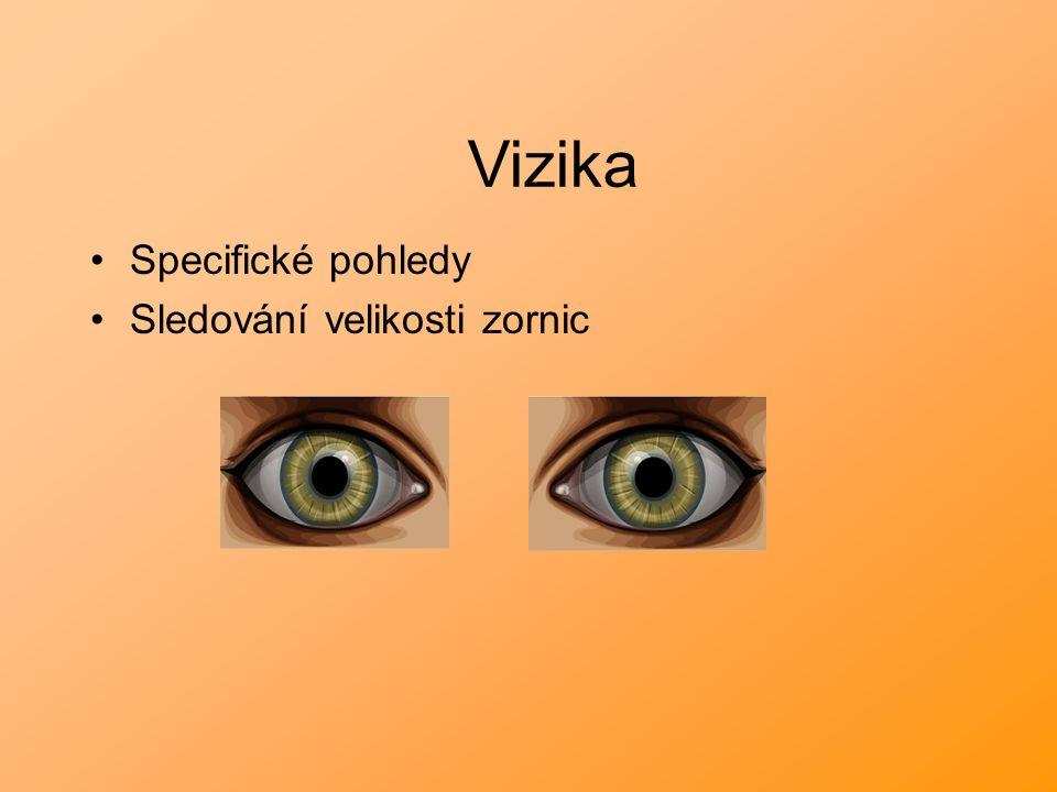 Specifické pohledy Sledování velikosti zornic Vizika