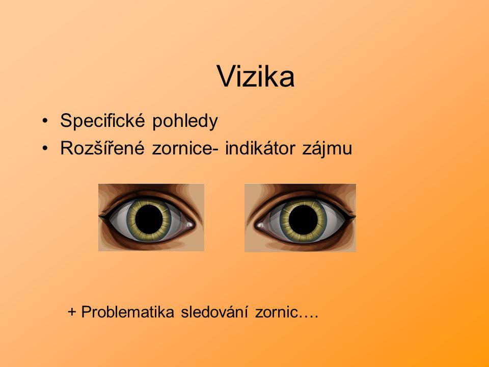Specifické pohledy Rozšířené zornice- indikátor zájmu Vizika + Problematika sledování zornic….