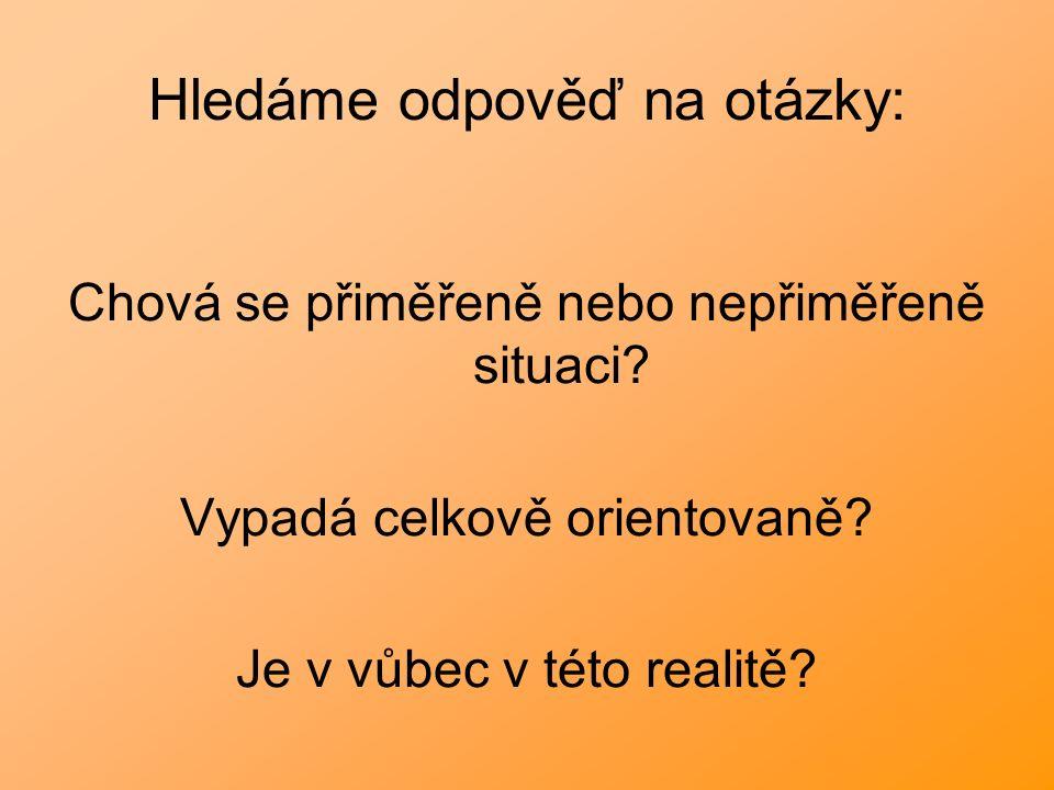 Hledáme odpověď na otázky: Chová se přiměřeně nebo nepřiměřeně situaci? Vypadá celkově orientovaně? Je v vůbec v této realitě?