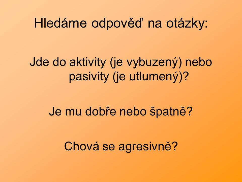 Hledáme odpověď na otázky: Jde do aktivity (je vybuzený) nebo pasivity (je utlumený)? Je mu dobře nebo špatně? Chová se agresivně?