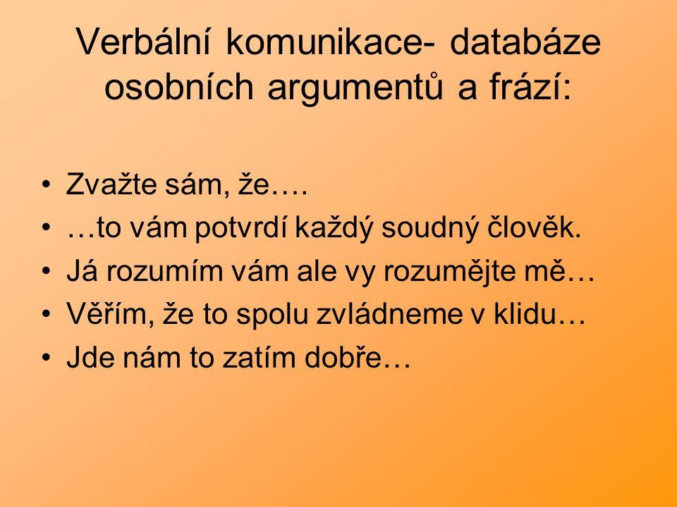 Verbální komunikace- databáze osobních argumentů a frází: Zvažte sám, že…. …to vám potvrdí každý soudný člověk. Já rozumím vám ale vy rozumějte mě… Vě