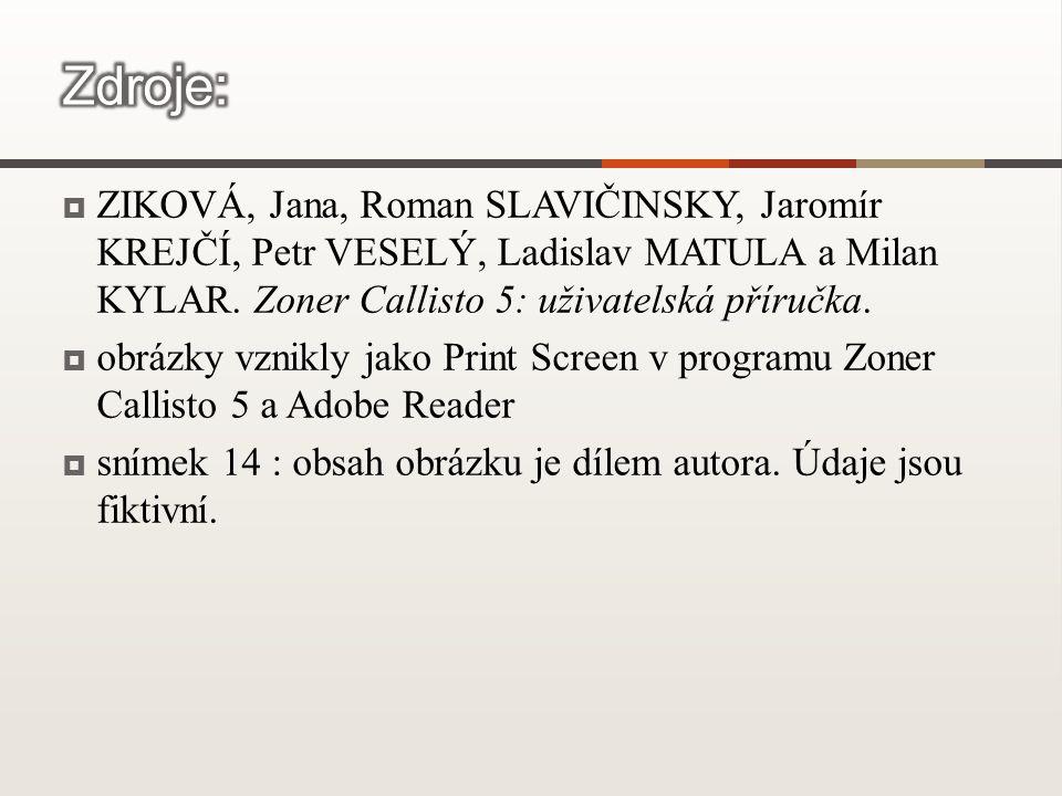  ZIKOVÁ, Jana, Roman SLAVIČINSKY, Jaromír KREJČÍ, Petr VESELÝ, Ladislav MATULA a Milan KYLAR.