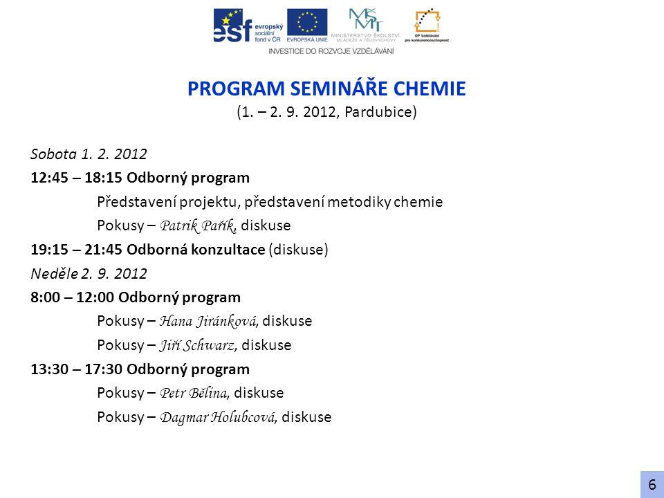 PROGRAM SEMINÁŘE CHEMIE (1. – 2. 9. 2012, Pardubice) Sobota 1. 2. 2012 12:45 – 18:15 Odborný program Představení projektu, představení metodiky chemie