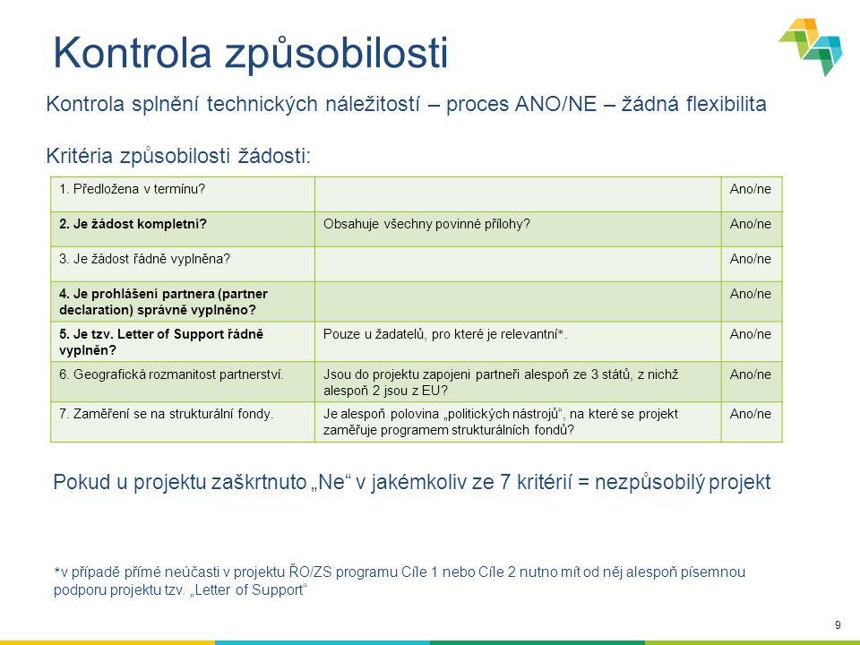 9 Kontrola způsobilosti Kontrola splnění technických náležitostí – proces ANO/NE – žádná flexibilita Kritéria způsobilosti žádosti: 1. Předložena v te
