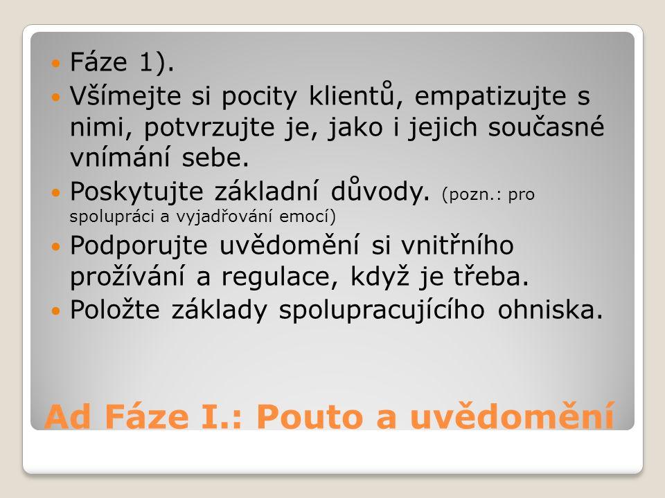 Ad Fáze I.: Pouto a uvědomění Fáze 1).