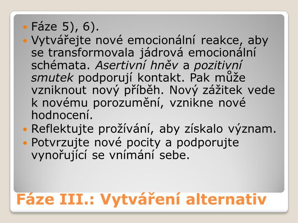 Fáze III.: Vytváření alternativ Fáze 5), 6).
