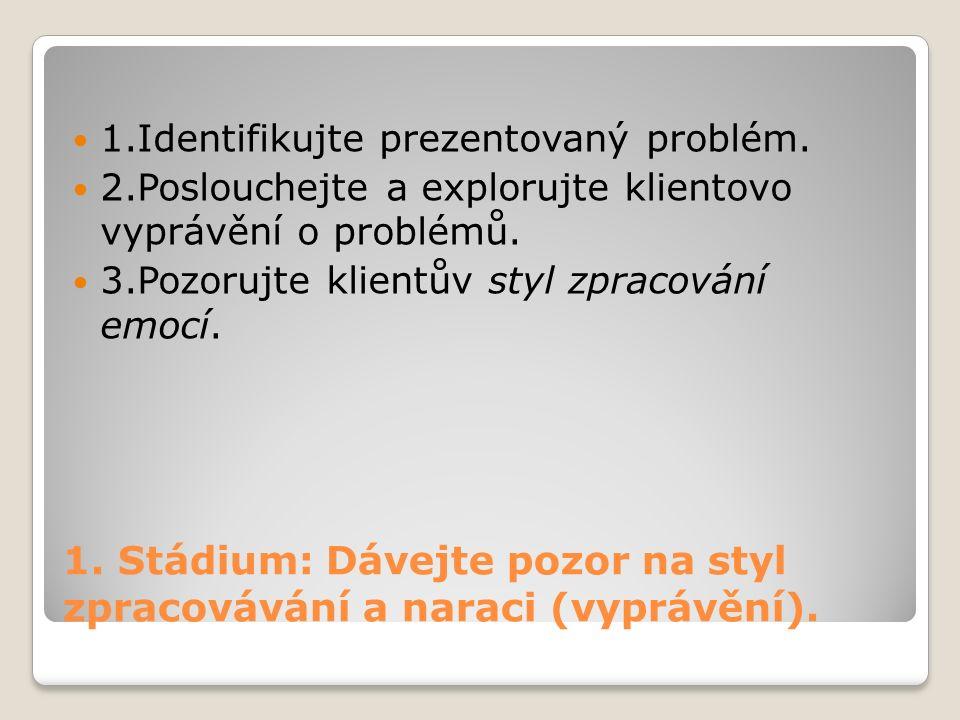 1.Stádium: Dávejte pozor na styl zpracovávání a naraci (vyprávění).