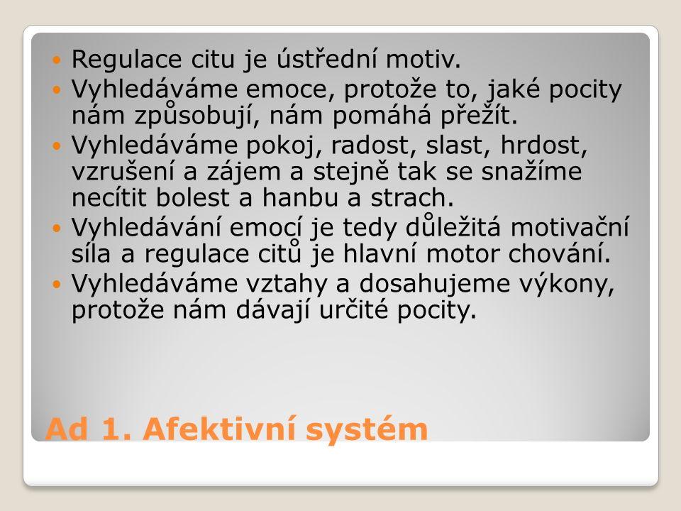 Ad 1.Afektivní systém Regulace citu je ústřední motiv.