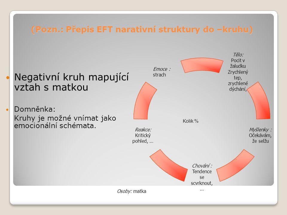 (Pozn.: Přepis EFT narativní struktury do –kruhu) Negativní kruh mapující vztah s matkou Domněnka: Kruhy je možné vnímat jako emocionální schémata.