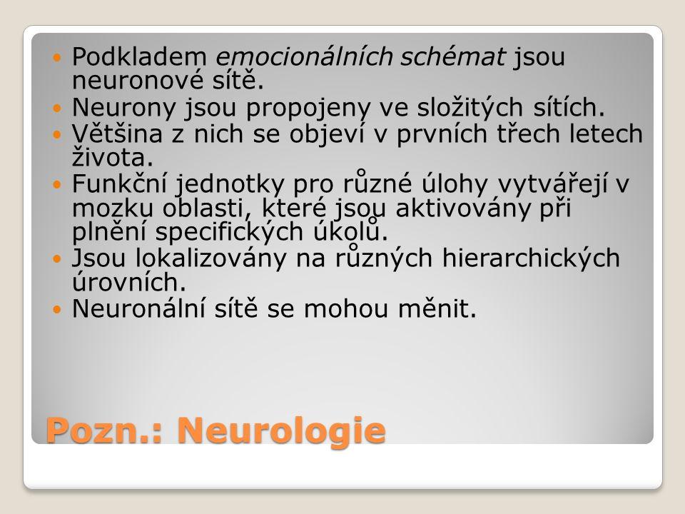Pozn.: Neurologie Podkladem emocionálních schémat jsou neuronové sítě.