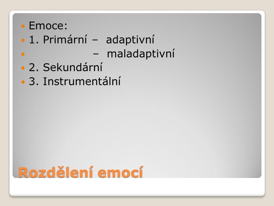 Rozdělení emocí Emoce: 1. Primární – adaptivní – maladaptivní 2. Sekundární 3. Instrumentální