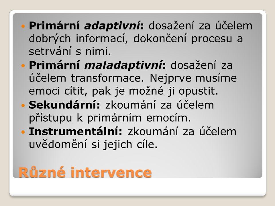 Různé intervence Primární adaptivní: dosažení za účelem dobrých informací, dokončení procesu a setrvání s nimi.