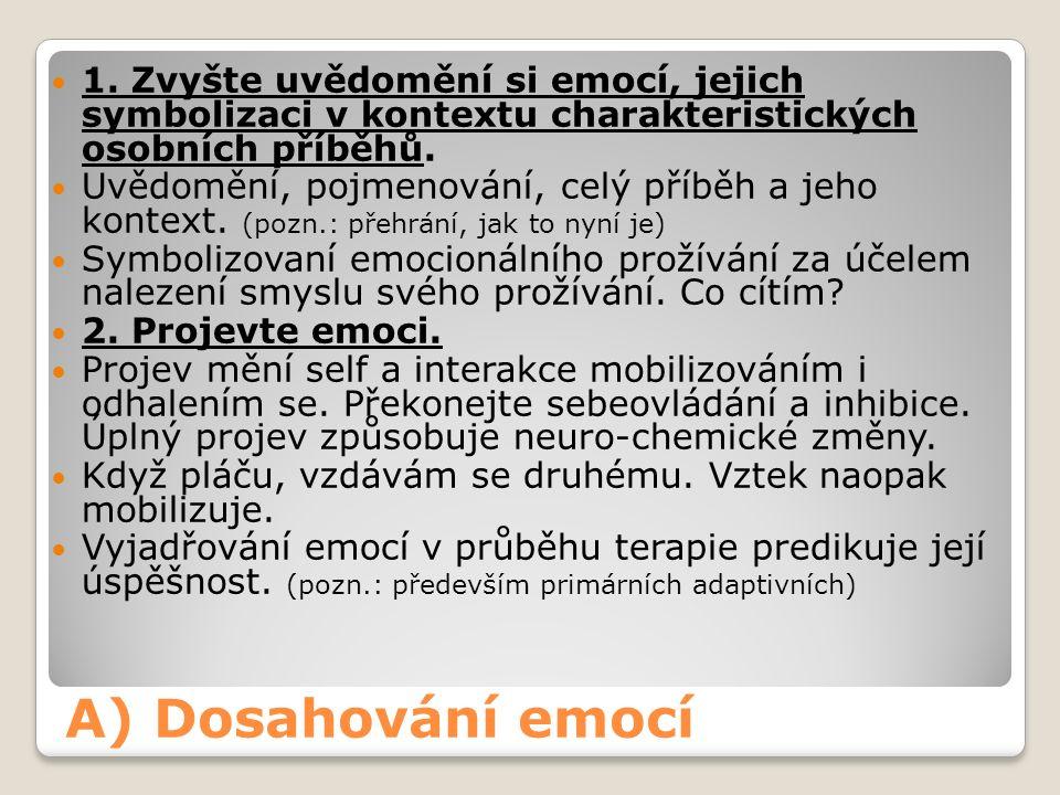A) Dosahování emocí 1.