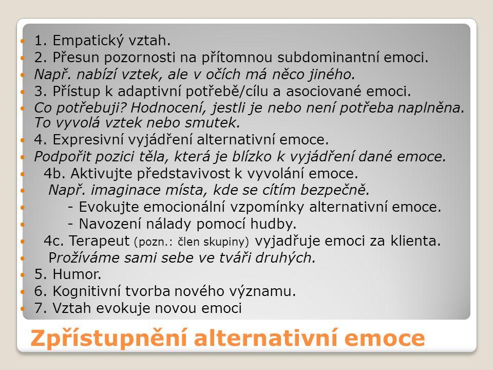 Zpřístupnění alternativní emoce 1. Empatický vztah.