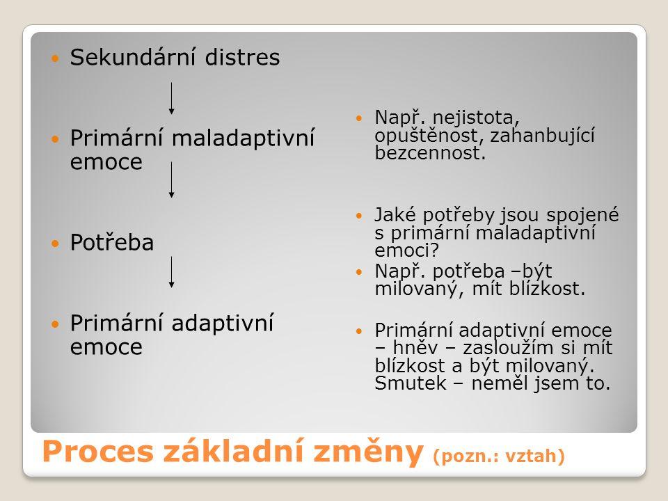 Proces základní změny (pozn.: vztah) Sekundární distres Primární maladaptivní emoce Potřeba Primární adaptivní emoce Např.